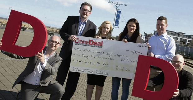 Frazer Waters of DoneDeal, Frank Phelan of Barnados, Emma Hayden of the ISPCC, Agnes Healy of DoneDeal, Conor O'Leary of Bray Cancer Support Centre and Padraig Howlin of DoneDeal