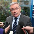 Brendan Howlin, Minister for Public expenditure and reform speaks to journalists before opening a conference examining accountibility in the public sector held by the Institute of Public Administration and the Office of the Ombudsman. Picture credit; Damien Eagers 7/11/2014