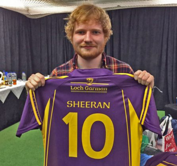 Singer Ed Sheeran has donated his Wexford GAA jersey to Gorey Cricket Club