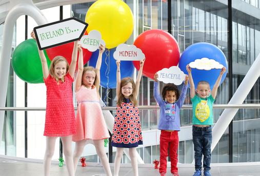 Doodle 4 Google marks Ireland's 2016 Commemorations. Pictured at the launch are Zoe and Hannah Holland aged 9, Robyn Holland aged 6, Dan Gatera aged 5 and James Sinay aged 5