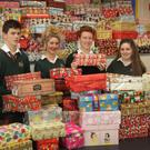 Pictured at the Gorey Community School Team Hope shoe box appeal were Catherine McDonald, Darragh O'Toole, Niamh Newens, Stephen Fleming, Chloe Chambers and Reece Hughes