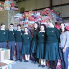 Students from FCJ Bunclody delivering the shoeboxes to the Wexford depot