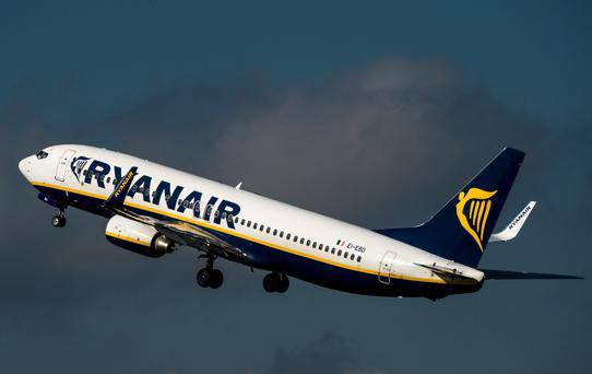 A Ryanair jet takes off