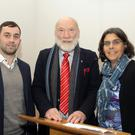 Guest speaker Dr Brian Hughes, chairman Willie Willoughby and librarian Hazel Percival