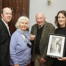 Joe O' Loughlin pictured with his wife, Phil O'Loughlin and, from left, chairman south east region AIMS Rob Donnelly and chairperson of Carnew Musical Society Lorna Doran