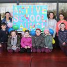 Bunscoil Loreto Active Flag launch day were active school committee and teachers, Aislinn Mythen, Riona Ni Suilleabhain, Taragh O'Leary and Karen Rochford