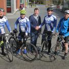 Gorey Cycle Club's Jason Morris, Gerard Hanratty, Kevin Ryan and Donal Evoy are pictured with Gorey Cathaoirleach Malcolm Byrne
