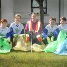 Adam Du Plessis, Caoimhe Crean, teacher Laura Farrell, Jack Whelan, Kerny Haxby and Holly Tobin Taking part in the St Enda's National School, An Taisce and Ballycanew Tidy Towns spring clean