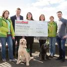 Linda Collins (My Canine Companion), Liam Kavanagh (DoneDealJobs, on behalf of Peter McVerry Trust), Blathnaid Harney (Alzheimer Society), Helen Stacey (DoneDeal), Donna Buckley (My Canine Companion), and Shane Doyle (DoneDeal), with Ned and Rua