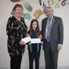 Principal Ms. Louisa O' Brien, Eve O' Hanlon, pupil and Cllr Tony Dempsey