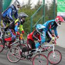 Cyclists taking part in the BMX National Series race at Riverchapel BMX Club