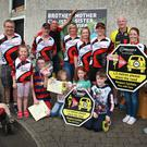 Some of those who participated in the charity cycle outside Goslin's pub in Ballycanew