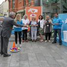 Council chairman Tony Dempsey aims to make a point at the launch of the GLT gum litter education campaign last week