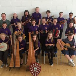 Back: Tutor John O'Brien, Caoimhe Browne, Leah O'Mahony, Grace Ivanoff, Ruairi Martin, Éabha Callaghan and Daniel Hersey Kenny. Middle: James Kinsella, Alex Farrell, Tara Cushe, Laura Sinnott, Kate Kavanagh and Bláthnaid Kenny. Front: Conor Wafer, Niamh Byrne, Mollie Carroll, Ruby Farrell and Éanna Redmond