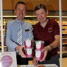 Michael Murphy promoting ProU Yogurt in Pettitt's Supervalu St. Aidan's, with Padraig Doran, store manager