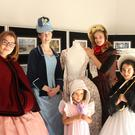Time travelling in costume at Gorey Library, Lucy Decarpentrie, Laura Thorpe, Clara Devereux, Mathilde Decarpentrie and Ina Byrne