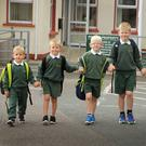 Putting their best foot forward: All five Jones brothers: Andrew, (5), Adam, (6), Kyle, (7), Joshua, (9), and Rhys, (10), from Clogh, are all now attending Gorey Central School