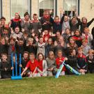 Cricket Leinster presented two sets of cricket equipment to Kilanerin NS: Coach Herbie Honohan, teacher Sandra Carty, Gorey chairman Al Fitzgerald, principal Geraldine Carmody, and coach Mark Leonard