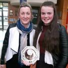 Lily Mahon and Aileen Donohoe with the Tom and Maura Kilbride Perpetual Trophy