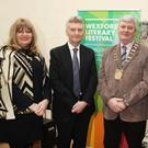 At the launch: Carmel Harrington, Literary Festival chairperson; Alan Corcoran, who launched the festival; Co. Council chairman, Paddy Kavanagh; and Enniscorthy and District Chamber president, John Burke O' Leary.