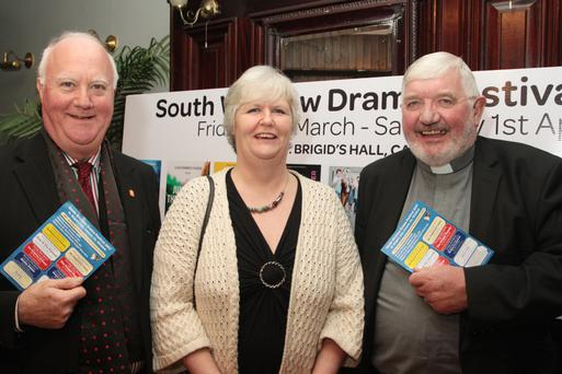 Chairman Eamonn Doran, Jacqui Mulholland and Fr. Joe Power at the launch of the South Wicklow Drama Festival in Carnew
