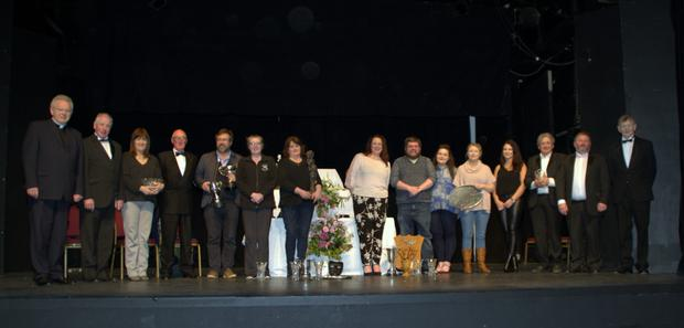 Some of the award winners on stage on the final night of the recent Kilmuckridge Drama Festival
