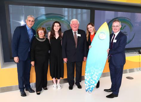 TV and Radio personality Baz Ashmawy, his mum Nancy, John's Hayes' granddaughter Grainne, John Hayes, Michelle Toner (Head of CSR, eir) and Eamon Timmons (CEO, Age Action)