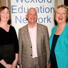 Fergus Heffernan pictured in the Talbot Hotel in Wexford in 2013 when he was guest speaker at the Wexford Education Network seminar and AGM. Also in the photo are Louise King (left), chairperson, Wexford Education Network, and Angela Hogan