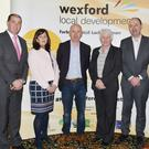David Clancy; Minister Paul Kehoe; Claire Ryan, WLD; Mayor of Wexford, Frank Staples; Minister Catherine Byrne, guest speaker; Brian Kehoe,CEO, WLD; and Michael Wall, Chairman, WLD; at the conference in Riverbank House Hotel