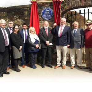 North Wexford Historical Society chairman Willie Willoughby and Gorey Municipal District chairman Cllr Pip Breen with society members and councillors at the unveiling