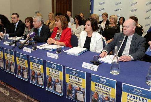 Taking questions at the press conference (from left) Elizabeth Adams (Director of Professional Development); Dave Hughes (Deputy General Secretary); Mary Leahy (1st Vice President); Liam Doran (General Secretary); Martina Harkin Kelly (President);Margaret Frahill (2nd Vice President); Edward Mathews (Director of Regulation & Social Policy); and Phil Ní Sheaghdha (Director of Industrial Relations)