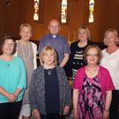 Fr William Howell and principal Aileen Kennedy with retiring teachers Mary Mythen, Therese Hayden, Irene Mitchel, Nora Murphy and Ethna Murphy