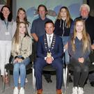 1st and 3rd year winners, back row: Cliona Connolly, Wexford County Council; Adriana Ruthovska (joint 3rd) Gorey Community School; Nicholas Egan, Wexford Naturalists Field Club, Sophie Telford, Kennedy College New Ross, and Don Conroy, artist and judge. Front: Ella McShane, Gorey Community School, joint 3rd; Cllr John Hegarty and Amanda Dobre, Gorey Community School, 1st