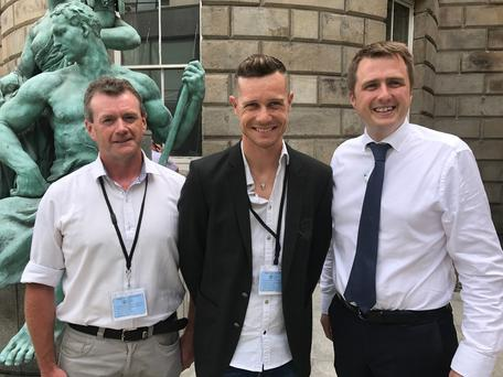 Wexford's Phil Skelton of the Stayin Alive at 1.5 campaign, top professional cyclist Nicolas Roche and James Browne TD at Leinster House
