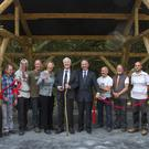 Dr Ned Culleton officially opens the new medieval lodge at the Heritage Park.