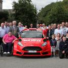 Mayor Cllr Jim Moore launching the Rally at The Riverebank House Hotel with club president Tommy Moran, chairman Graham Scallan, representatives of Wexford Volkswagen, the Riverbank House Hotel, Michael Jordan, from The Hope Cancer Support Centre and club members