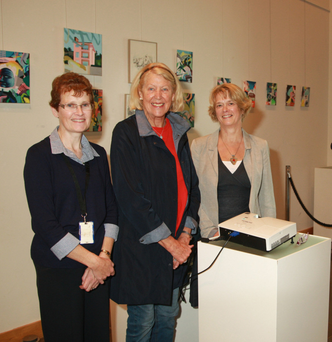 Librarian Fiona Wadding, Rita Reed, and guest speaker Catherine MacPartlin at the National Heritage Week talk and pictorial presentation at Gorey Library on the history of Ferns