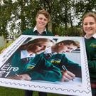 Lauren Dench and Michael Duke, pupils of Gorey Community School who feature on a stamp