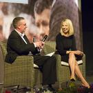 Larry Donnelly interviews RTE's Washington correspondent Caitriona Perry on stage at St Michael's Theatre