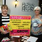 GROW coffee morning in the Loch Gorman Arms marking world mental health week; area co-ordinator, Ellen Ryle and Marian Byrne