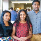 Senuri, pictured at the launch in Gorey Library with her parents Nalin and Duleeka, and sister Swetha