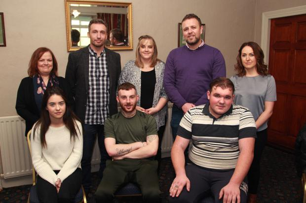 At the Courtown youth training course launch at the Taravie Hotel were, front row: students Shannon Develin, Ian Brown and Martin Cash. Back row: Shirley, Connolly, course co-ordinator Michael Brauders, Sandra Collins, Gorey Youth Needs, Jason O'Leary assistant co-ordinator, and Mandi Tighe, Gorey Youth Needs.