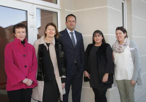 Taoiseach Leo Varadkar with Kilanerin NS staff members Margaret Cooper, principal Geraldine Carmody, Mary Jo Lawless and Catriona O'Connor.