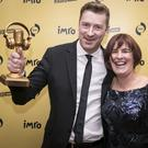 Cathal Funge with Eleanor McEvoy, chairperson of IMRO