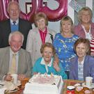 Lizzie Byrne, Castlelands, Ferns with her daughter Ann, nephew Noel and friends at her 105th birthday celebrations