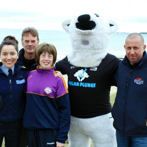 At the launch of the 2017 Special Olympics Polar Plunge in Rosslare (from left): Garda Anne Marie Doyle, Michael Nicholas (RNLI), Special Olympics athlete Shannon O'Farrell (Foulksmills), David McCusker/Polar Bear (RNLI) and Keith Morris (RNLI)