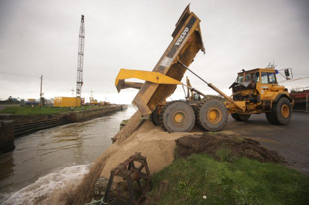 Work begins at Courtown harbour yesterday (Monday).