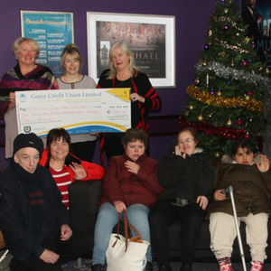 Geraine O'Loughlin and cinema manager Hayley Morrissey present €1,790.50 to Mary Thompstone of St Aidan's Services, while actress Liz Lloyd and general manager of Gorey cinema Eugene Tobin present €1,790.50 to Tina Brophy of Pethelpers