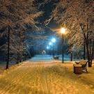 The streets were beautiful as the snow glistened and sparkled