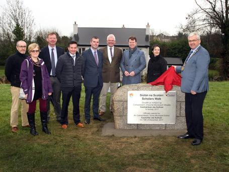 Cllr Joe Sullivan unveils the stone watched on by Municipal District members and officials